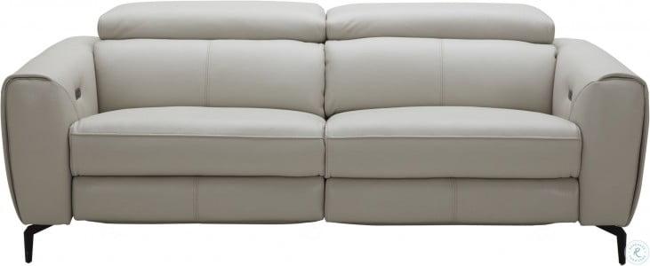 Lorenzo Light Grey Leather Reclining Sofa