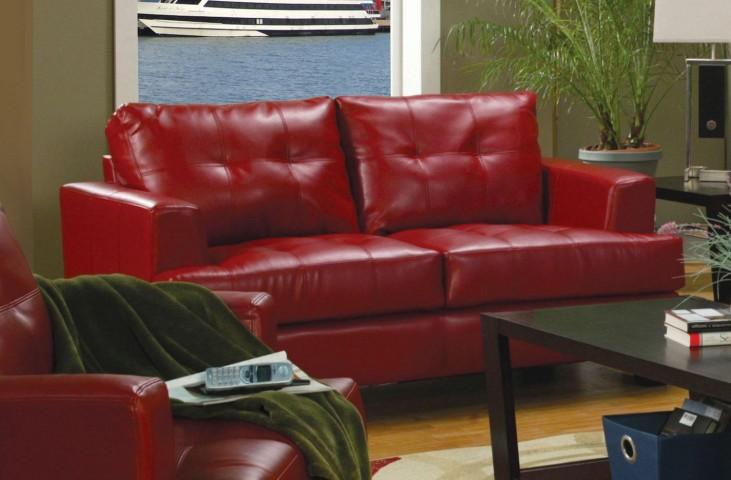 Samuel Red Leather Loveseat - 501832
