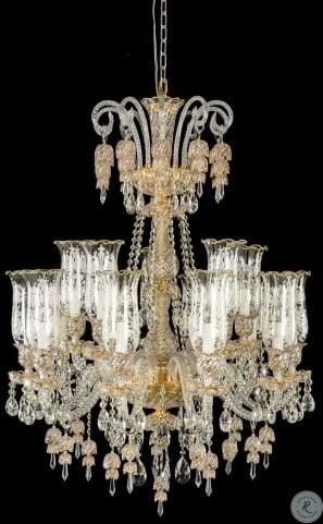 Garnier Clear Glass Gold 15 Light Chandelier