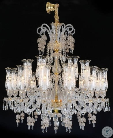 Garnier Clear Glass Gold 18 Light Chandelier