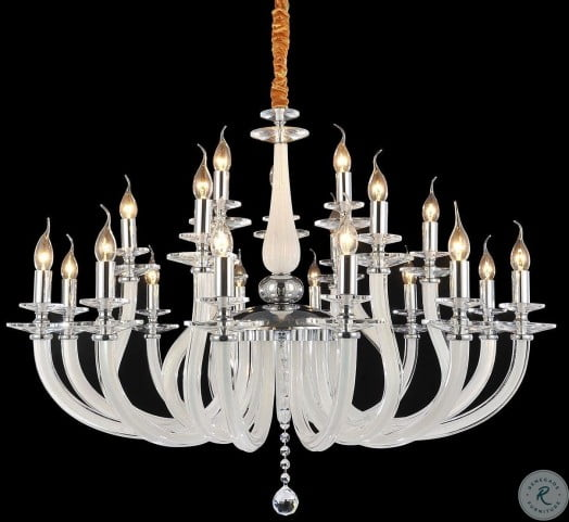 San Marco Opalescent Glass Chrome 21 Light Chandelier