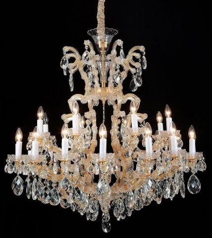 LA Scala Cognac Glass Gold 19 Light Chandelier