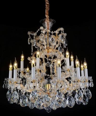 San Carlo Clear Glass Gold 25 Light Chandelier