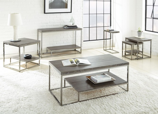Lucia Black Nickel Occasional Table Set