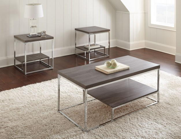 Lucia Glass and Metal 3 Piece Occasional Table Set
