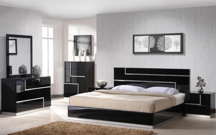 Lucca Black Lacquer Youth Platform Bedroom Set