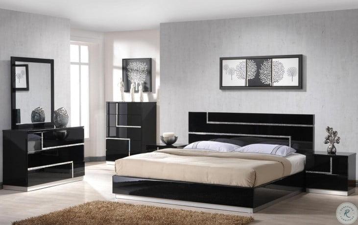 Lucca Black Lacquer Platform Bedroom Set from J&M (17685-Q ...