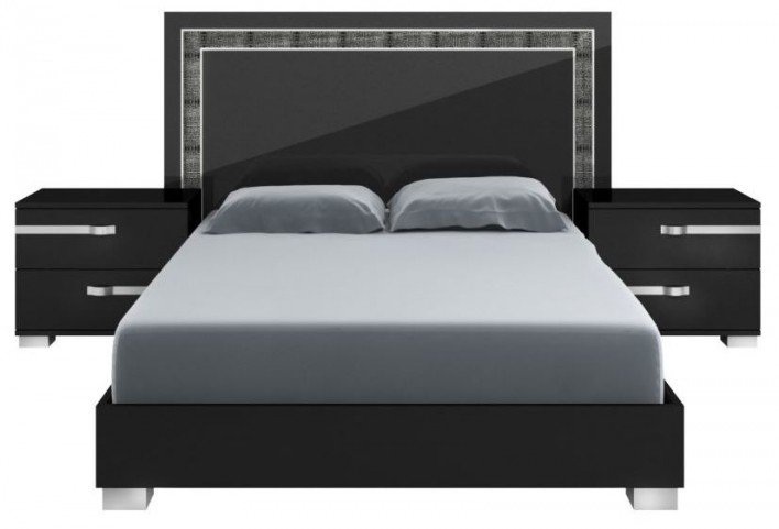 Vivente Lustro Black High Gloss Queen Platform Bed