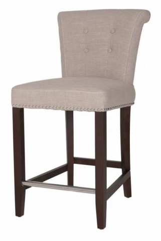 Luxe Espresso Almond Fabric Counter stool