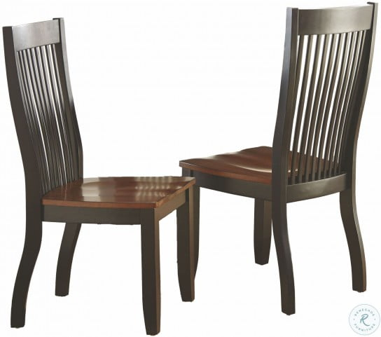Lawton Black and Brown Side Chair Set of 2