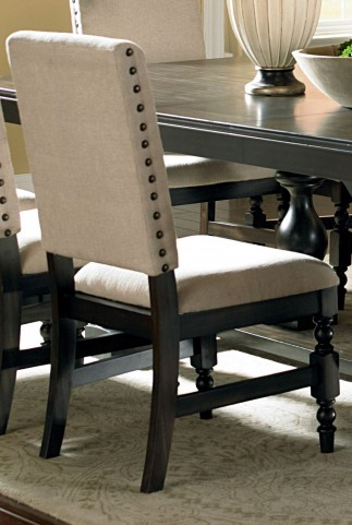 Leona Antiqued Charcoal Side Chair Set of 2