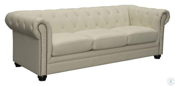 Kaleb Cream Leather Cream Sofa