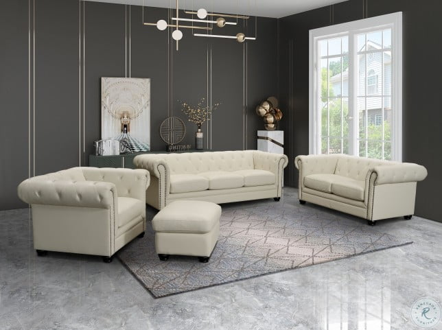 Kaleb Cream Leather Cream Living Room Set