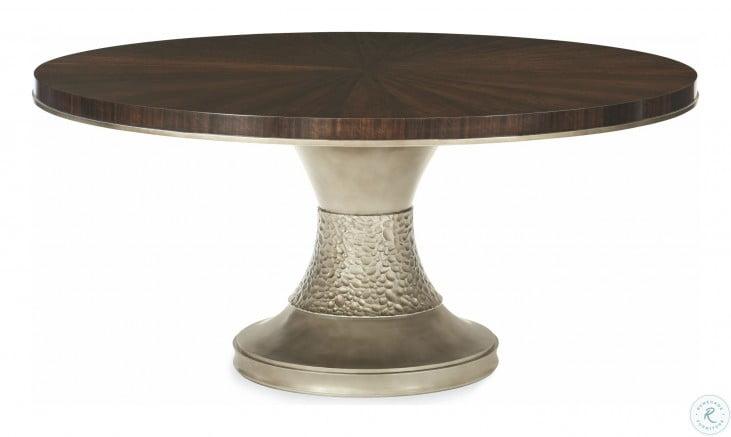 Modern Streamline Smoked Bronze Round Pedestal Dining Table