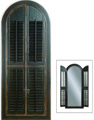 Rusticated Black Arched Shutter Mirror