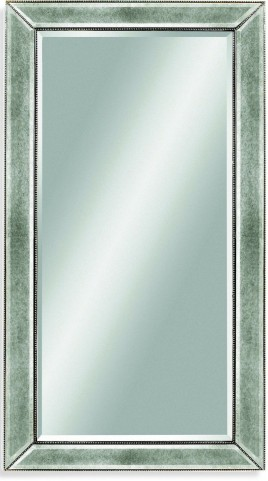 Beaded Silver Leaf Wood Frame Wall Mirror