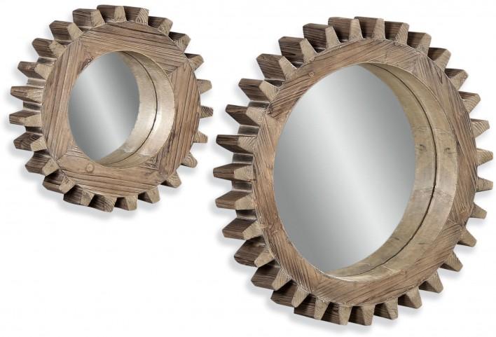 Sprockets Dark Weathered Wall Mirror Set of 2