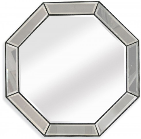 Beaded Silver Leaf Octagon Wall Mirror