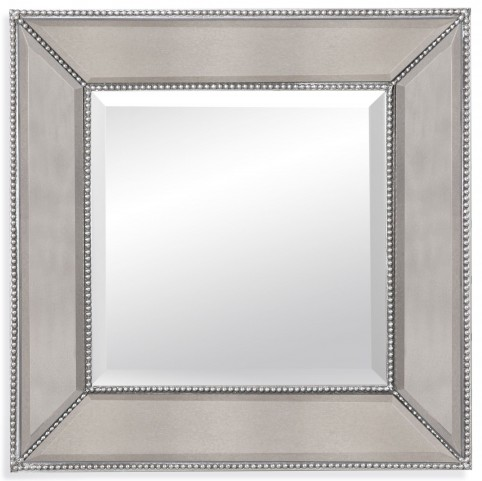 Beaded Silver Leaf Wall Mirror