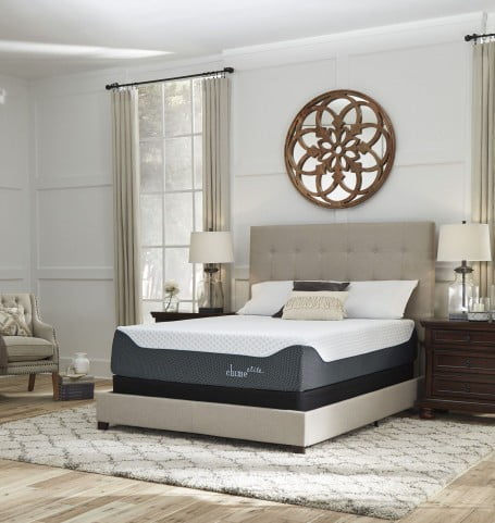 """Chime Elite 14"""" White and Blue King Ultra Plush Mattress with Foundation"""