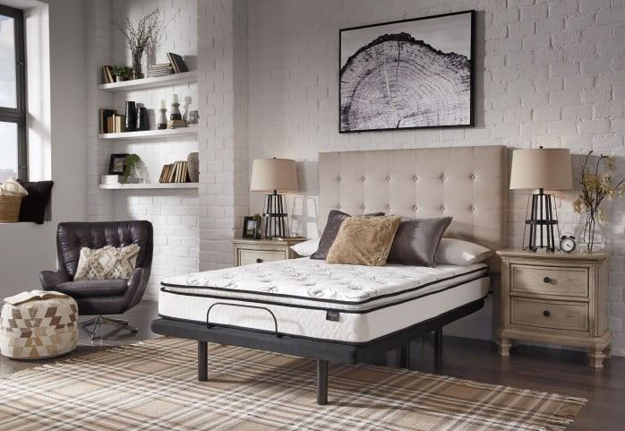 """Chime 10"""" Bonnell Pillowtop White King Mattress with Foundation"""