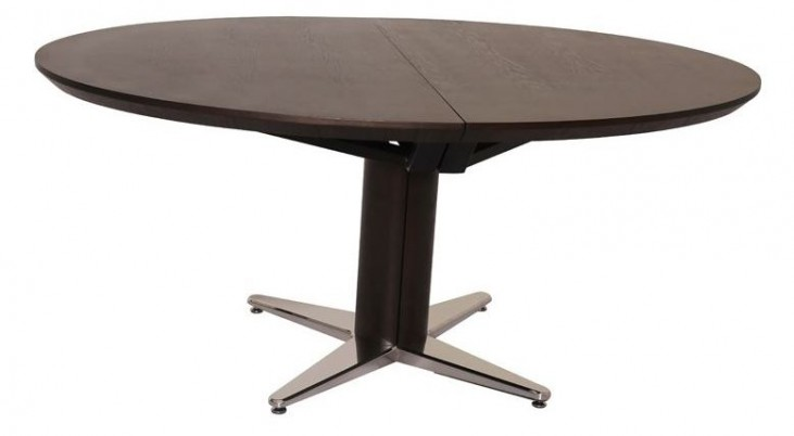 Mace Natural Walnut Extendable Round Dining Table
