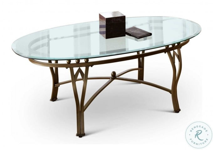 Madrid Glass Top Oval Cocktail Table