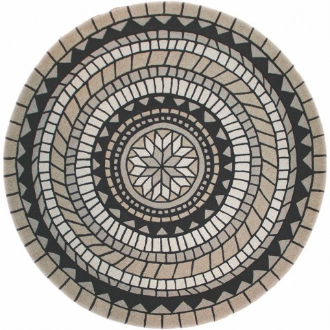 Malabar Beige and Black Circular Textured Rug