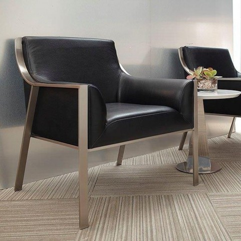 Malibu Black Leather Accent Chair