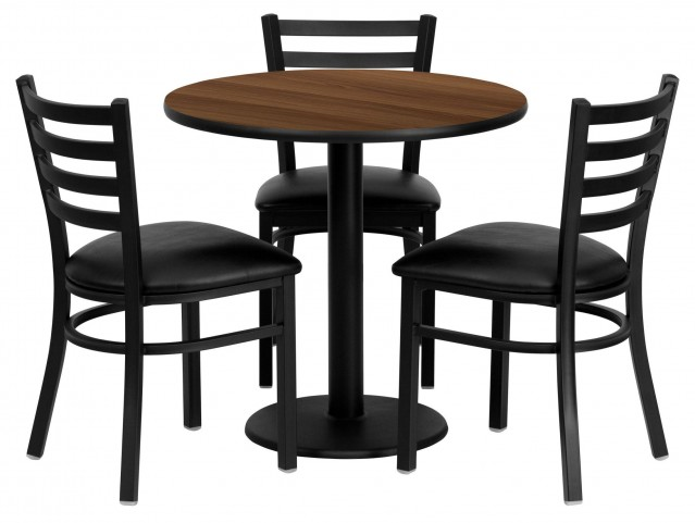 "30"" Round Walnut Table Set with Ladder Back Black Vinyl Chair"