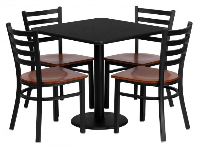 """30"""" Square Black Table Set with Ladder Back Metal Chair"""