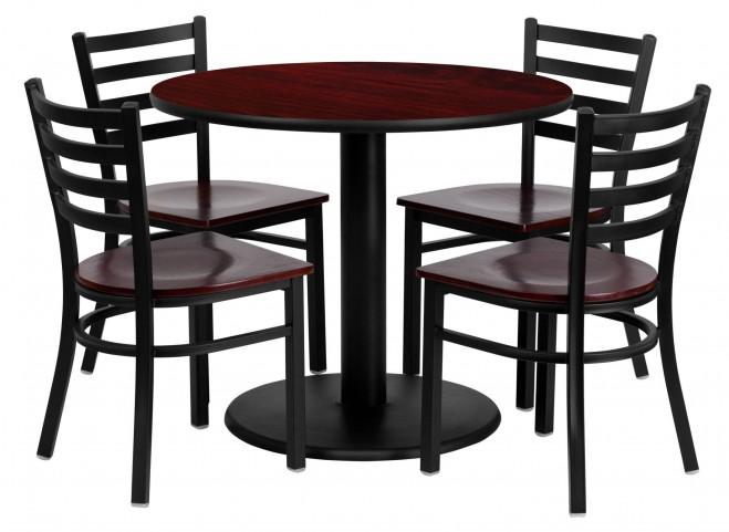 "36"" Round Mahogany Table Set with Ladder Back Metal Mahogany Chair"