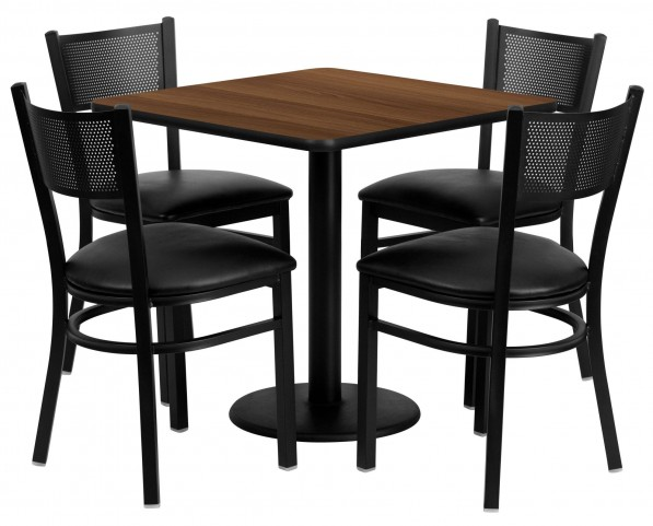 "30"" Square Walnut 5 Piece Table Set with Grid Back Black Vinyl Chair"