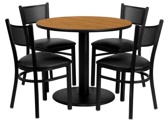 """36"""" Round Natural 5 Piece Table Set with Grid Back Black Vinyl Chair"""