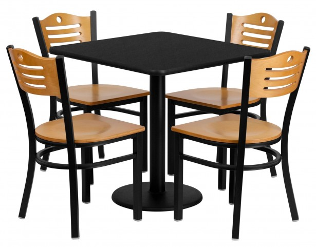 """30"""" Square Black Table Set with Wood Slat Back Metal Natural Chair"""