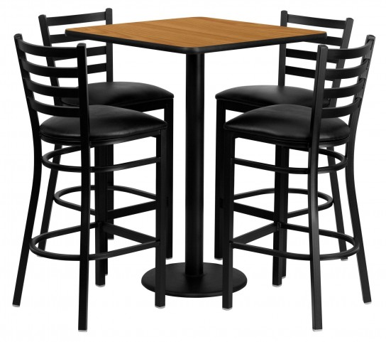 "30"" Square Natural Table Set with Ladder Back Black Vinyl Bar Stool"