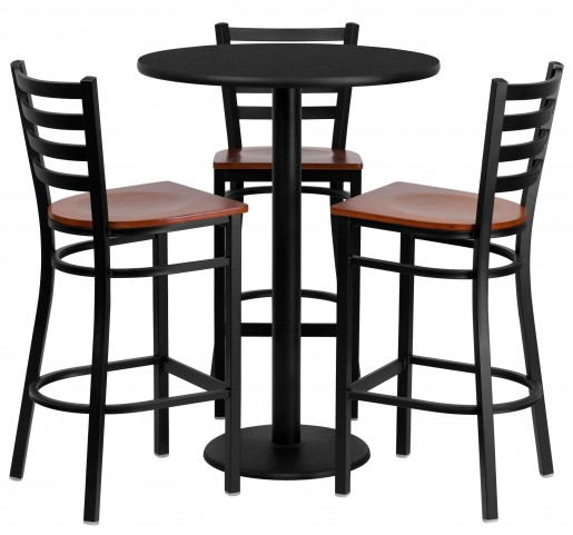 """30"""" Round Black 5 Piece Table Set with Ladder Back Metal Bar Stool"""