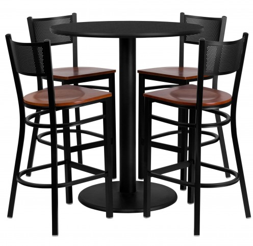 "36"" Round Black 5 Piece Table Set with Grid Back Metal Bar Stool"
