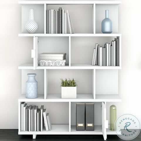 Madison Avenue Pure White Large Geometric Etagere Bookcase With Doors From Kathy Ireland By Bush Coleman Furniture