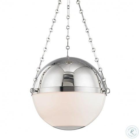 Sphere No.2 Polished Nickel 3 Light Large Pendant