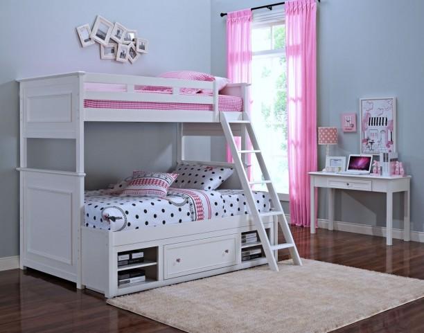 Megan Youth White Storage Bunk Bedroom Set