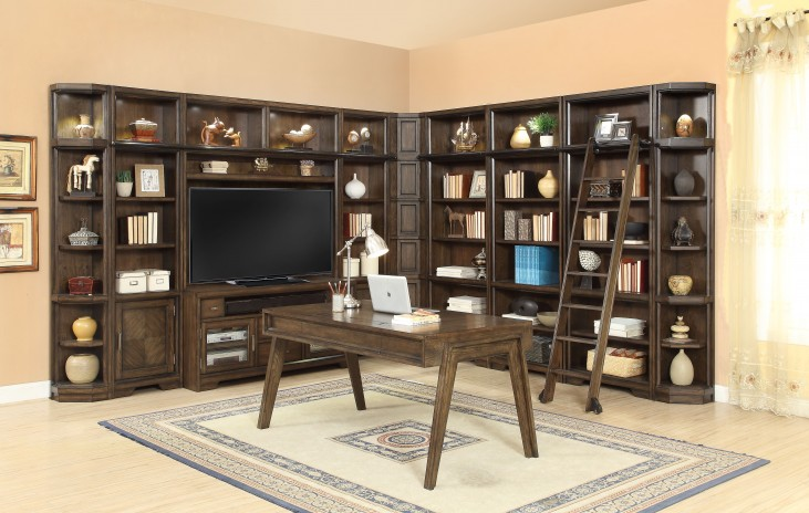 Meridien Burnished Dark Ash L Shape Entertainment Wall Unit