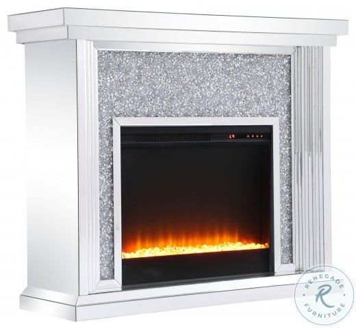 """Modern Crystal 47.5"""" Mirrored Mantle With Fireplace"""