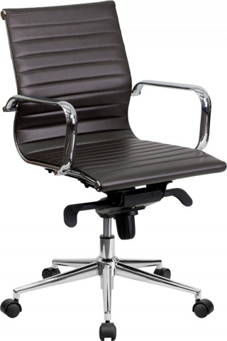 Mid-Back Brown Ribbed Upholstered Leather Conference Chair