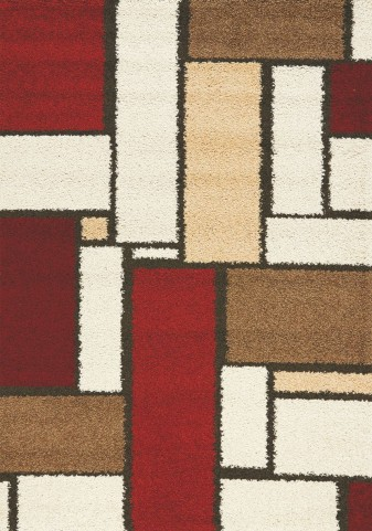 "Milo Red Brown Rectangles 63"" Rug"