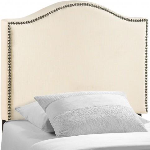 Curl Ivory Twin Nailhead Upholstered Headboard
