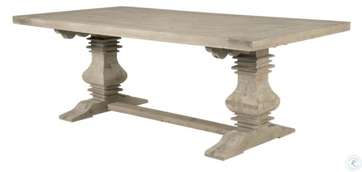 Monastery Smoke Gray Rectangular Extendable Trestle Dining Table From Orient Express 8040 Sgry Pne Coleman Furniture