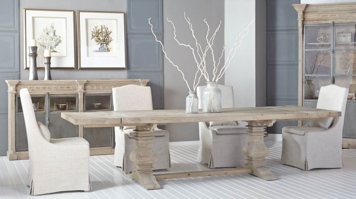 Monastery Smoke Gray Rectangular Extendable Trestle Dining Room Set with Colette Dining Chair