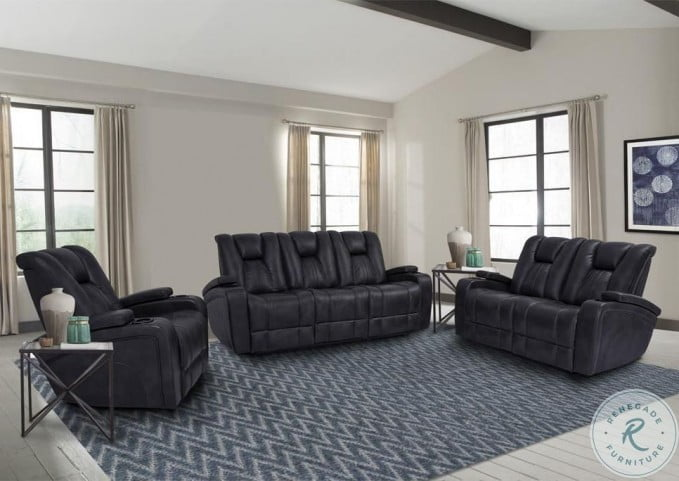 Optimus Midnight Power Reclining Living Room Set