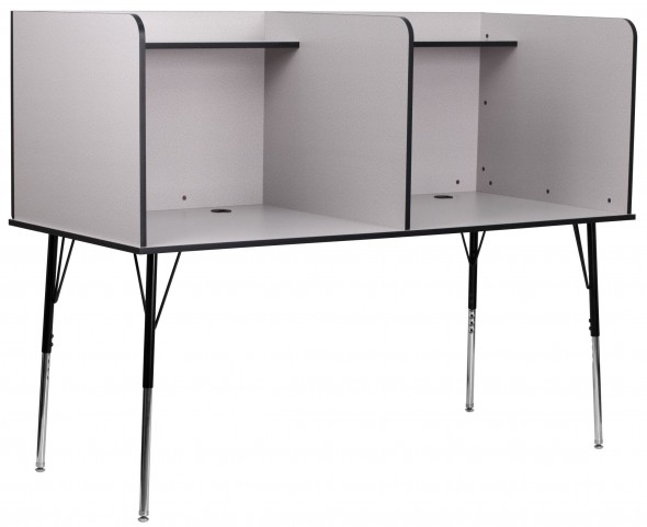 Nebula Gray Double Wide Study Shelf Carrel with Adjustable Legs